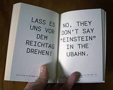 <p>Es ist auch eine Art Berlin Buch<br /> It also is kind of a Berlin book</p>